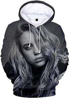EUDOLAH Women's Billie Eilish Fan Hoodies 3D Print Hiphop Street Fashion Oversized Casual Sweatshirt