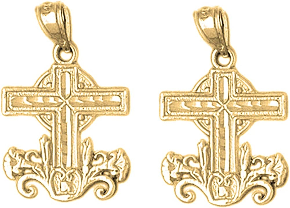 Jewels Obsession Outlet sale OFFer feature Other Cross Earrings 14K Yellow Gold Le