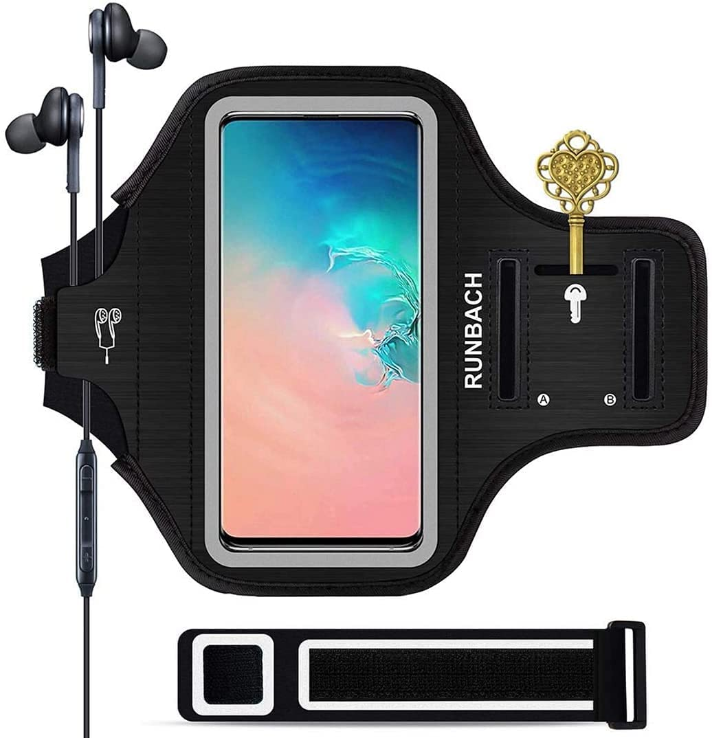 Galaxy S21/S20/S10/S9/S8 Armband,RUNBACH Sweatproof Running Exercise Gym Cellphone Sportband Bag with Fingerprint Touch/Key Holder and Card Slot for Samsung Galaxy S21/S20/S10/S9/S8 (Black)