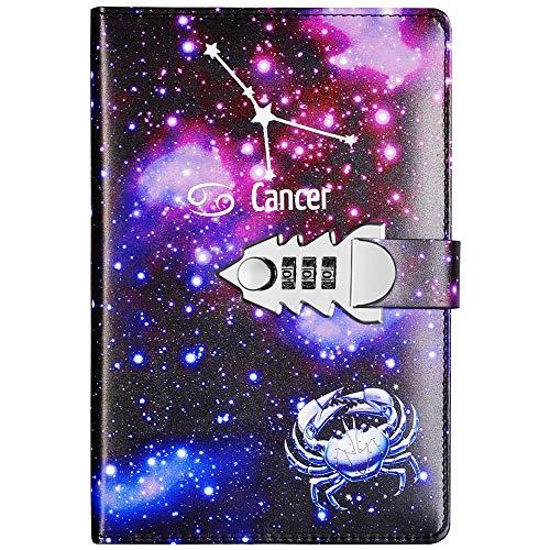Yakri A5 tamaño doce constelaciones pasar cercanas libro diario de bloc de notas con contraseña TPN145 (Cancer)