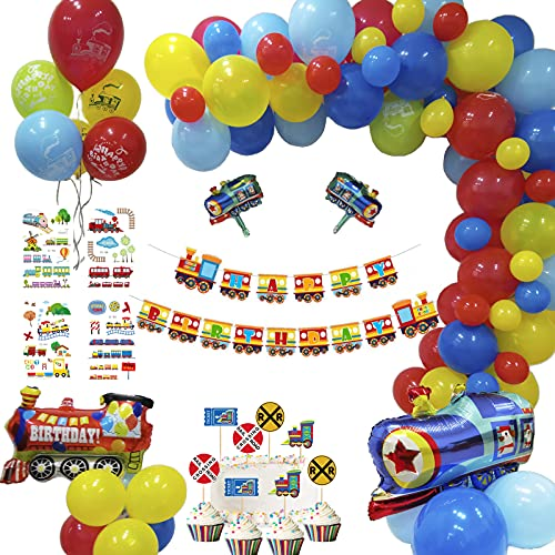 party supplies train toys Train Birthday Party Supplies Set - Train Party Decorations with Railroad Balloons Garland,Train Birthday Banner,Train Balloons,Railway Cupcake Toppers for Steam Train Birthday Party,Baby Shower