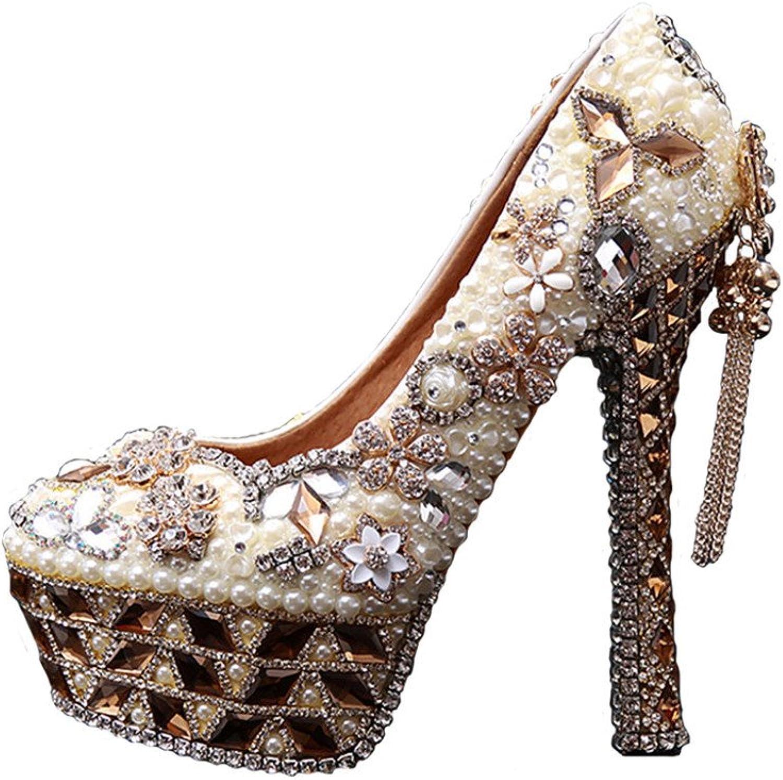 BoShi Women's Evening Pumps Diamond Party High Heels shoes