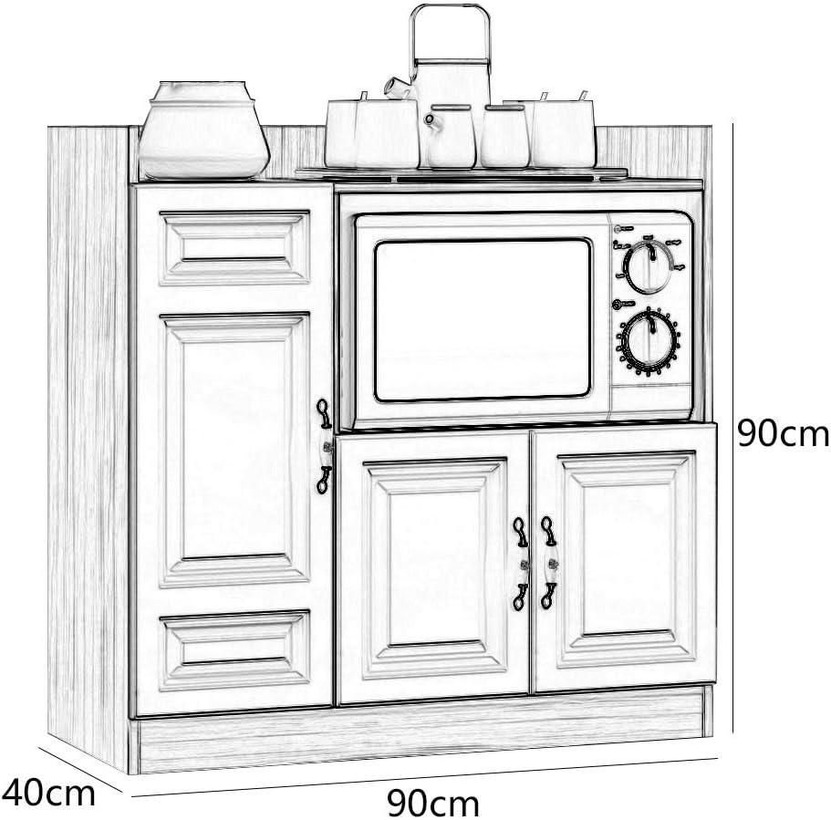 Casa Ristorante Credenza Forno a microonde gabinetto Forno Cabinet Tea Gabinetto Semplice e Moderno Locker Soggiorno Bagagli Bowl Kitchen Cabinet 90X40X90cm Color : Light Walnut