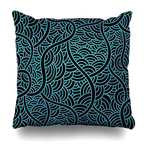 WH-CLA Couch Cushions Resumen Acuático Gráfico Piel De Pez Dibujo Curva De Color Doodle Contorno Dibujado Funda De Almohada Cojines De Cojines Cama De Oficina Plaza 45X45Cm Sofá Personal