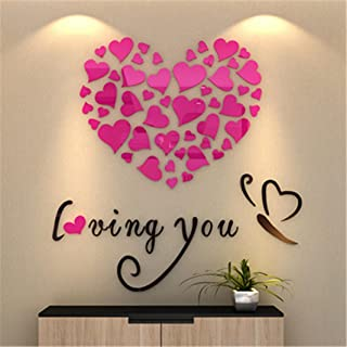 Vacally Wall Art Decor Love Heart DIY Removable Vinyl Decal Art Mural Wall Stickers Home Decor Living Room Bedroom Background