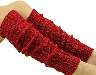 TWIFER Winter Damen Zopfmuster Stulpen Socken Beinwärmer Rot, 46cm