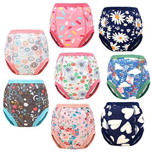 8 Packs Toddler Training Underwear for Boy and Girls Strong Absorbent Cotton Training Pants for Baby Potty Training 3T Pink