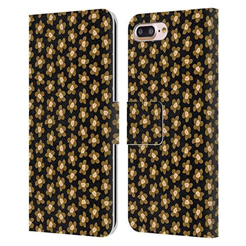 Head Case Designs Licenciado Oficialmente Ninola Oro Negro Floral Carcasa de Cuero Tipo Libro Compatible con Apple iPhone 7 Plus/iPhone 8 Plus