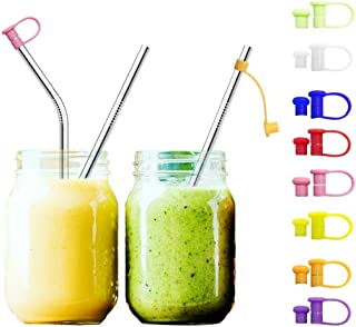 JpGdn 24pcs Multicolored Food Grade Silicone Straw Tip Straw Covers for Reusable Straws for 6mm Stainless Steel Straws