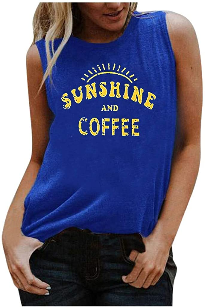 AODONG Women Tank Tops,Womens Summer Crop Top Fashion Graphic Printed Shirts Sleeveless Blouse Loose Tee