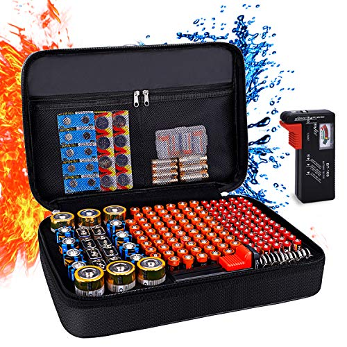 Balaperi Battery Organizer Storage Box,Fireproof Waterproof Explosionproof Carrying Case Holder Bag,Holds 200+ Batteries AA AAA C D 9V,with Battery Tester BT-168 (Not Includes Batteries) with Gift