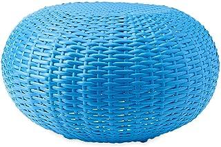 Plow & Hearth 39488-BL Tangier Wicker Footrest Pouf Patio Ottoman, Small - Blue (Renewed)