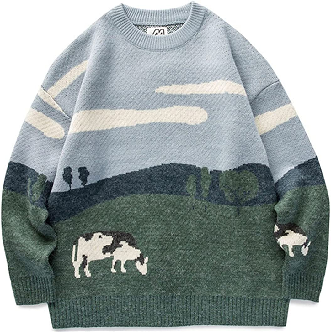Men Cows Vintage Winter Warm Daily Knitwear Pullover Male O-Neck Sweater Clothes