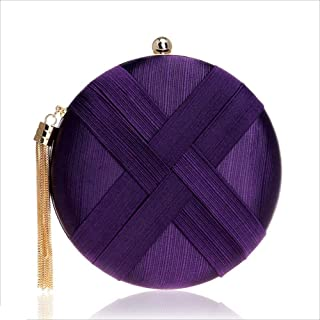 DIEBELLAU Women's Round Imitation Silk Evening Bag Ladies Banquet Bag Hand Evening Bag (Color : Purple, Size : XS)