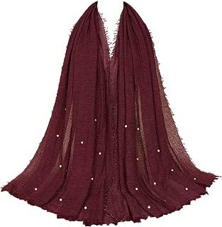 Women Crinkle Cloud Hijab Scarf Pleated Scarves Pearls Fashion Long Wrap Scarf