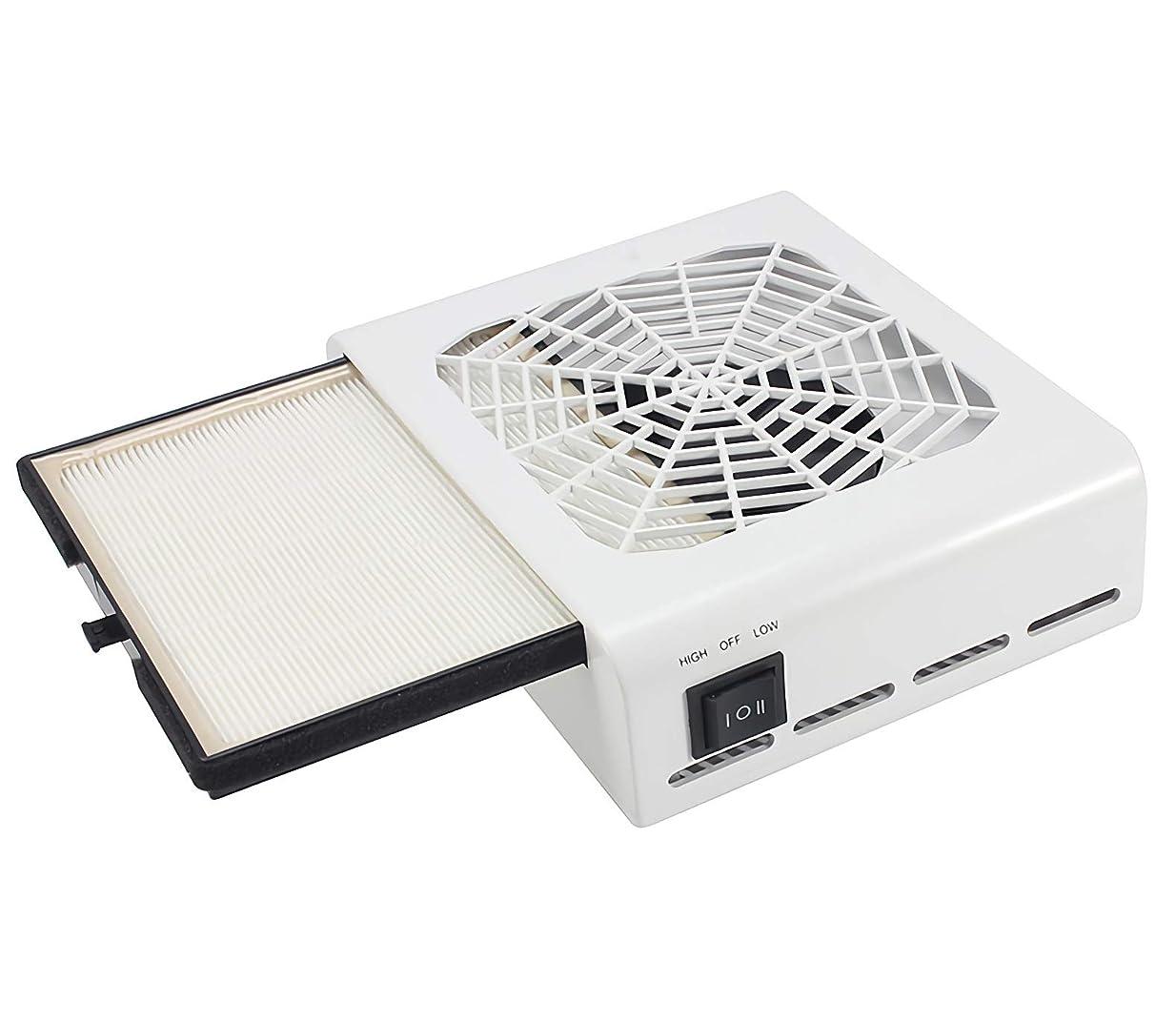 疲れた排除するサイドボードネイルダスト 集塵機 ジェルネイル ネイル機器 最新版 セルフネイル 低騒音 110V 40W パワー調節可能 白