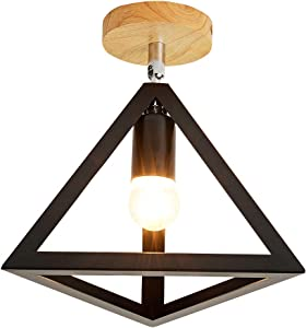 EERU Modern Nordic Triangle Ceiling Light,Angle Adjustable Semi Flush Mount Light Fixture Metal Shade with Wood Canopy Pendant Light for Hallway Stairway Kitchen Coffee Bar Living Room,Black.
