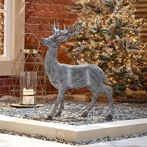 The Winter Workshop - 76cm Indoor & Outdoor Front Door Garden Standing Reindeer Christmas Decoration Resin Figure - Grey