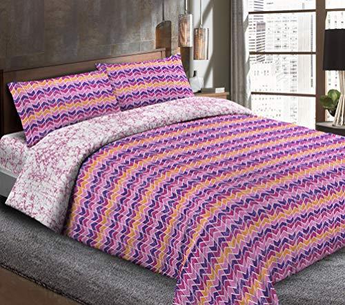 megawebstore Juego de sábanas de 1 plaza y media Spiga violeta lila
