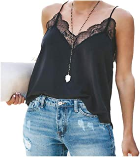 2019 Summer Tank Tops for Womens, V Neck Spaghetti Off Shoulder Lace Cami Sexy Strap Sleeveless Shirts