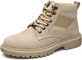 Dr. Martin Unisex Boots Leather breathable short boots trend tooling ankle boots casual wearable short boots high-top large size men's shoes fashion couple military boots (Color : Beige, Size : 40)