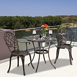 Outdoor Patio Furniture, European Style Cast Aluminum Outdoor 3 Pcs Patio Bistro Set of Table and Chairs with Ice Bucket Bronze for Backyard Pool (with Ice Bucket Bronze)