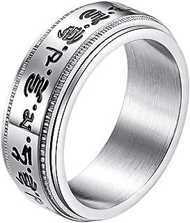 Men's Women's Stainless Steel Buddhist Healing Mantras Lucky Spinner Ring