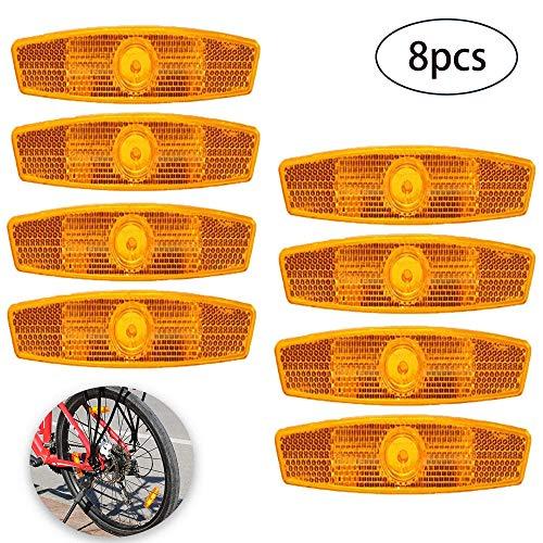 HPiano 8 Stück Fahrrad Speichenreflektoren Set Fahrrad Reflektoren Speichenreflektoren Starker Reflektionsfunktion für Mountainbike Rennrad Sicherheit, gelb