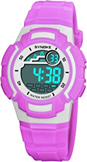 Watch Fashion Children's Watch 9578 Shi Nuo Ke Personality Waterproof Male and Female Students Electric Watch, Fashion Watch (Color : Purple)