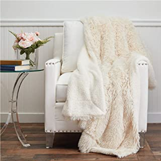 The Connecticut Home Company Shag with Sherpa Reversible Throw Blanket, Many Colors,..