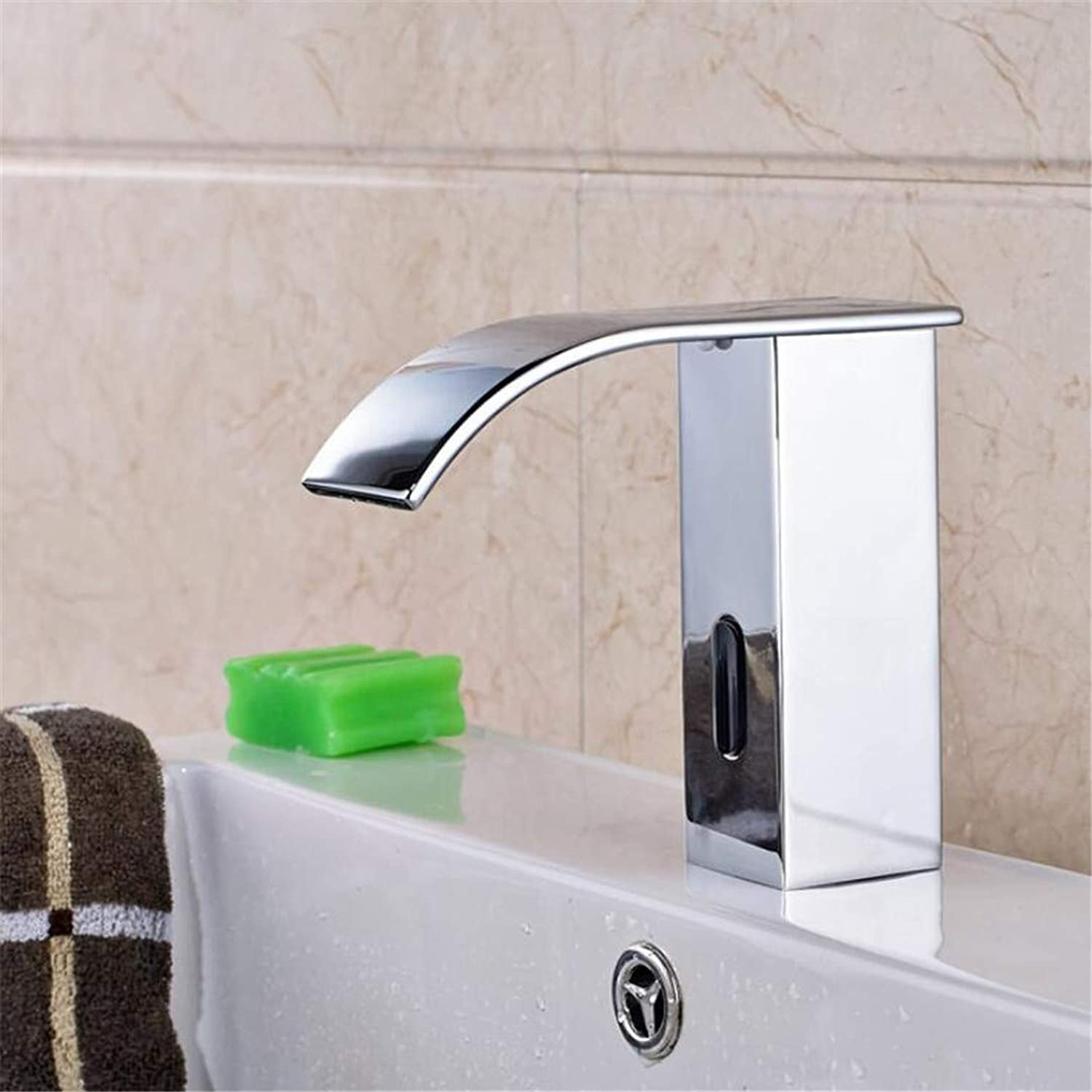 Faucet Washbasin Mixer Waterfall Wall Mount Bathroom Faucet Two Handle Basin Mixer Tap with Waterfall Flow Spout