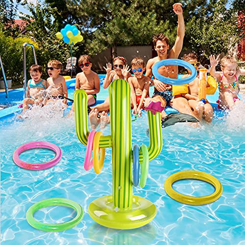 Poolspielzeug,Aufblasbarer Kaktus Aufblasbarer Ring Toss Spiel Set Lustige Party Aufblasbares Pool-Spielzeug Kaktus mit 4/6/8 Stück aufblasbarem Ringwurf Spiel Set Für Kinder Erwachsene (8 Farbringe)
