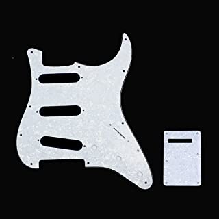 Musiclily SSS 11 Hole Stratocaster Electric Guitar Pickguard and BackPlate Set for Fender USA/Mexican Made Standard Strat Modern Style Guitar Parts,4Ply White Pearl
