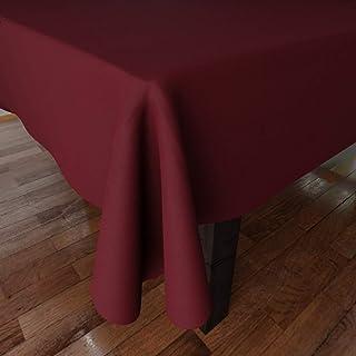 Encasa Homes jednokolorowy bawełniany obrus Oxford na 6-do 8-osobowy duży stół do jadalni - 142 x 230 cm, bogaty kasztanow...