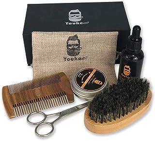 Beard Mustache grooming & maintenance,Beard brush kit,Beard sets including beard scissors,Bristle beard brush,mustache Wooden comb,mustache growth oil