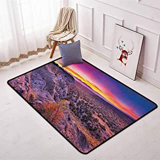 Nature Better Protection Surreal Sunrise Sky Horizon Over The Mountain Valley National Monument Dusk Print Kid Game Carpet W31.5 x L59 Inch Purple Blue