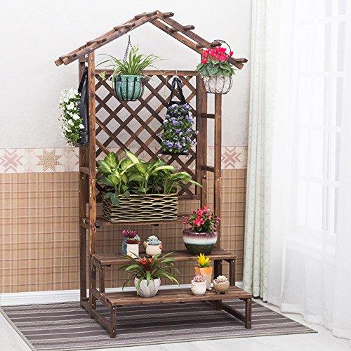 QFF Porte-fleurs en bois en bois Étagère en bois à étages multi-étages en bois massif Salon intérieur Conservateur de suspension Pots de fleurs en bois Type de plancher ( taille : 90*86*200cm )
