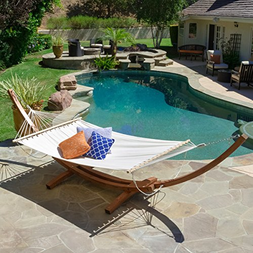 Christopher Knight Home Grand Cayman Hammock With a Larch Wood Frame, Quality Addition To Your Outdoors. Relax And Enjoy The Finer Things in Life.