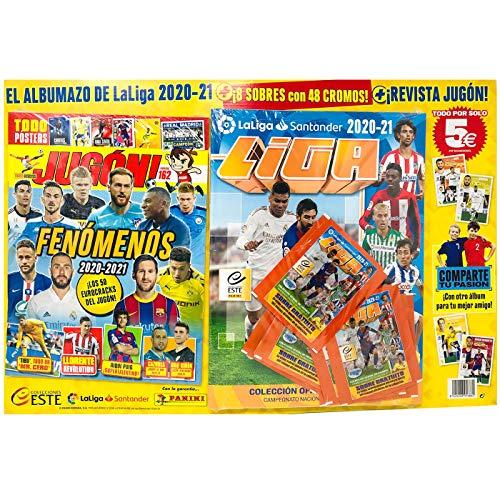 Álbum La Liga 2020 - 2021 mas 8 Sobres Liga con 48 cromos y Revista Jugón Numero 162 La Liga Santander 2020-21