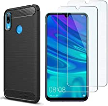 Case Huawei Y7 2019 Screen Protector, MYLB-US [3 in 1] Ultra-Thin Shockproof Carbon Fiber Cover +9H Tempered Glass for Huawei Y7 2019 Mobile Phone Case (Black)