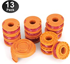 YWTESCH Replacement Trimmer Spool Line for Worx, 13 Pack (12 Pack Grass Trimmer Line, 1 Trimmer Cap)