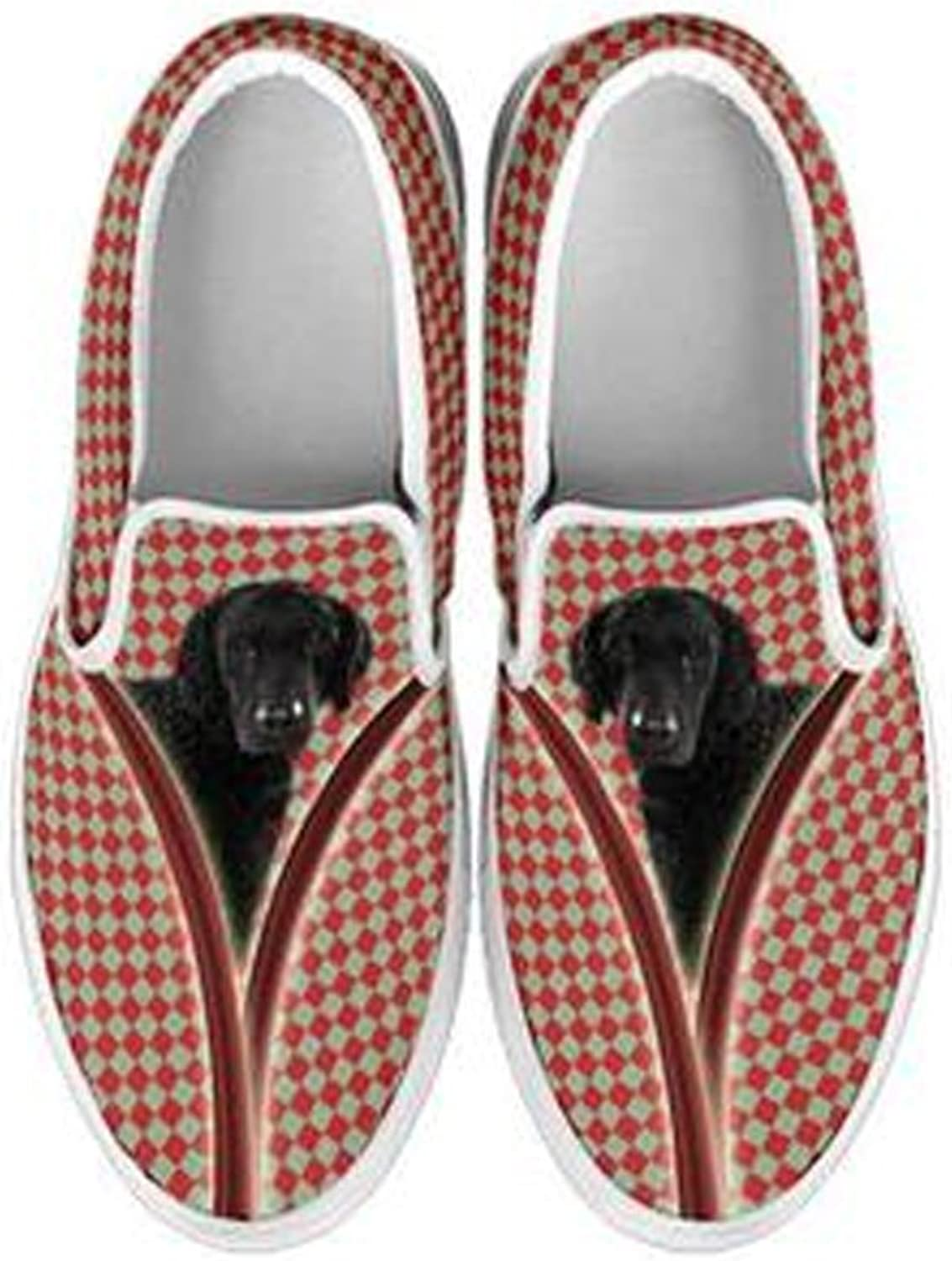 shoestup Women's Slip Ons-Cute Dogs Print Slip Ons shoes for Women (Choose Your Breed) White