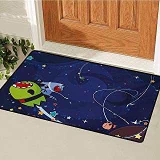 GUUVOR Space Cat Inlet Outdoor Door mat Cartoon Kittens Alien Creatures Stars Planets on Abstract Backdrop Catch dust Snow and mud W31.5 x L47.2 Inch Green Brown and Dark Blue