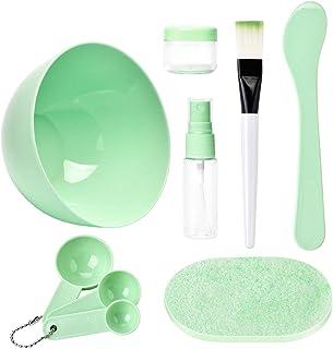 Face Mask Mixing Tool Kit, TsMADDTs DIY Facemask Tool Facial Care Make Up Bowl Sets with Big Volume Mask Bowl Spatula Brush Spray Bottle Puff Soaking Bottle Gauges Pack of 9 Green