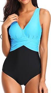 Bettydom Women's Swimsuit with V-shaped Neck Abdominal Monokini Backless, Cut-Out Push-Up Bikini, Elegant Grace U-Back