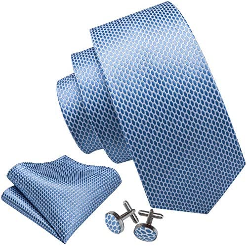 Barry Wang Sky Blue Ties for Men Solid Color Necktie Set Hanky Cufflink product image