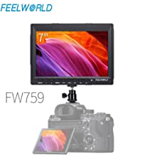 Feelworld FW759 7 Inch IPS Screen HD 1280x800 Ultra-Thin Design On-Camera Field Monitor Portable Small Monitor