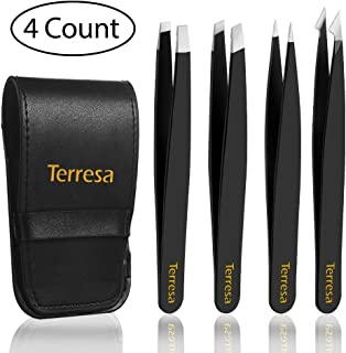Eyebrow Tweezers, Terresa 4 Pack Stainless Steel Slant Tweezer Set and Pointed Hair Removal Tweezers, Precision Tweezers for Ingrown Hair, Eyebrows Plucking, Daily Beauty Tool for Women and Men(Black)