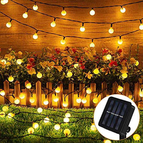 Solar Lichterkette Außen, 12M 100 Globe LED Solar Aussen Lichterkette Kugeln, 8 Modi IP65 Wasserdicht Warmweiß Deko Lichterkette für Draußen, Garten, Balkon, Bäume, Terrassen, Weihnachten, Party