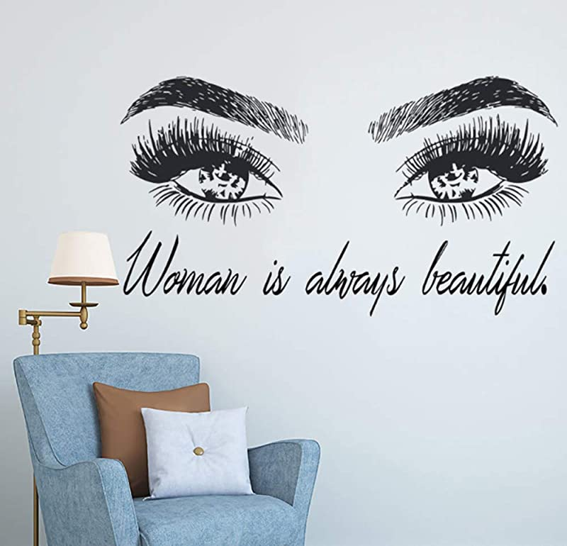 Wall Sticker Woman Make Up Sticker Eye Eyelashes Wall Decal Lashes Extensions Beauty Shop Decor Eyebrows Brows Mural Beauty Gift 77X42CM